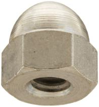 "Steel Acorn Nut, Nickel Plated Finish, Right Hand Threads, 1/2""-13 Threads (Pack of 25)"