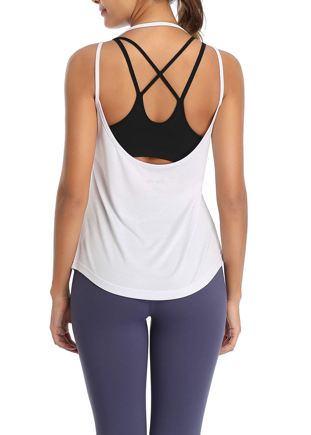 VISCNE Workout Tops Women's Open Back T- Shirts Activewear Yoga Gym Clothes Sports Tank Tops