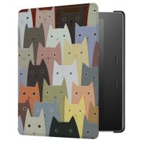 HUASIRU Painting Case for Kindle Oasis 2017/2019 (7 inches, 9th/10th Gens) Cover with Auto Sleep/Wake, Cats