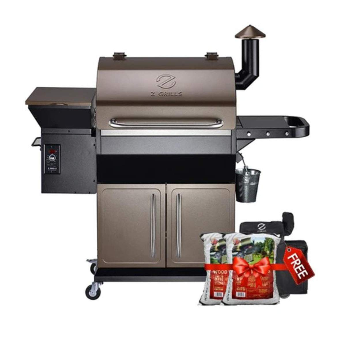 Z GRILLS 2020 Upgrated Wood Pellet Grill and Smoker 1000sqin BBQ Area 20LB Hopper 8-in-1 Grill Smart Digital Control Feeding Pellets (ZPG-1000D) Free Cover+2 Bags Oak Pellets