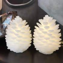 Candles Battery Operated Candles Set of 2 Real Wax Pine Cones LED Candles with 10-Key Remote and Cycling 24 Hours Timer Thanksgiving Christmas Decorations