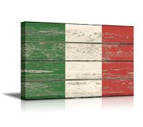 """wall26 - Canvas Prints Wall Art - Flag of Italy on Vintage Wood Board Background Stretched Canvas Wrap. Ready to Hang - 24"""" x 36"""""""