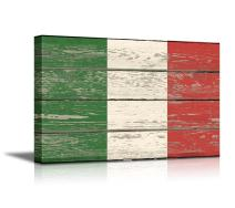 "wall26 - Canvas Prints Wall Art - Flag of Italy on Vintage Wood Board Background Stretched Canvas Wrap. Ready to Hang - 24"" x 36"""