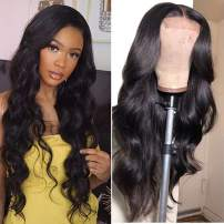 Baluiki 4x4 Lace Closure Wigs Body Wave Lace Front Wigs Human Hair With Baby Hair 150% Density Body Wave Wigs For Black Women Natural Color (20inch. body wave)