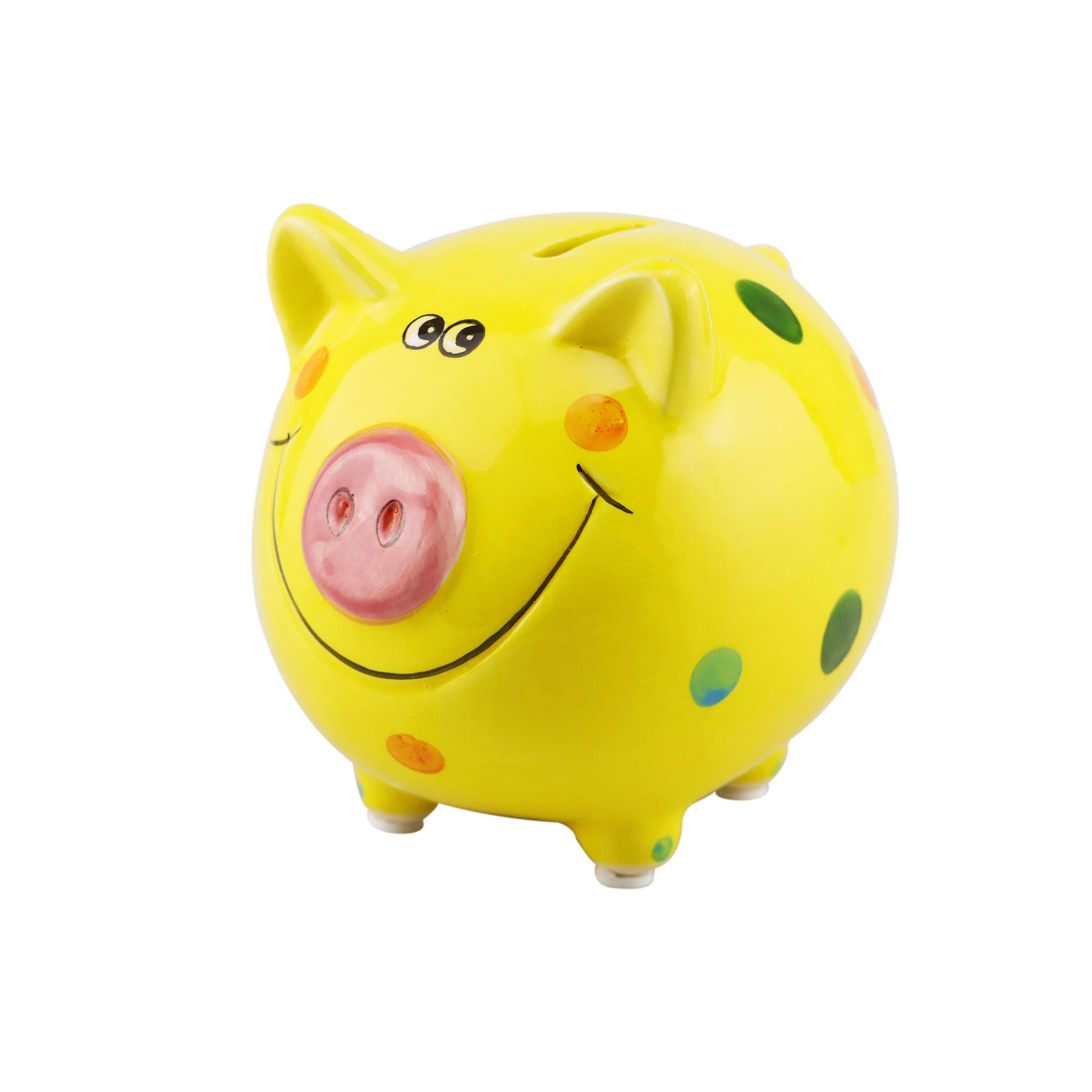 VANVENE Lovely Pig Piggy Bank for Boy and Girls, Coin Bank Money Bank for Kids, Best Birthday for Kids Home Decoration, Favorite Unique Baby Gift Idea (Yellow)