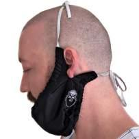 Men's Bedtime Beard Bib Bandana - Long String Over Head/Ear Non-Slip, Comfy, and Adjustable Facial Hair Apron Guard Bonnet Beard Rag