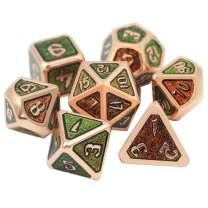 DNDWoW DND Dice Set Green Yellow Red Color Changing Dice by Angle 7 Die Metal Dice in Magic Font for Dungeons and Dragons, Pathfinder - DHVC1