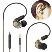 Daioolor EP187 Musician Wired Earbuds Ergonomic Ear-fit Sport Earphones with Microphones Volume Control