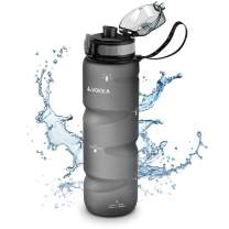 VOKKA Sports Water Bottle, with Time Markers, 32 oz, BPA-Free & Eco-Friendly Tritan Plastic, Gym Water Bottle with Carrying Strap for Sports, Fast-Flowing, Leakproof, One-Button Flip-Top Lid