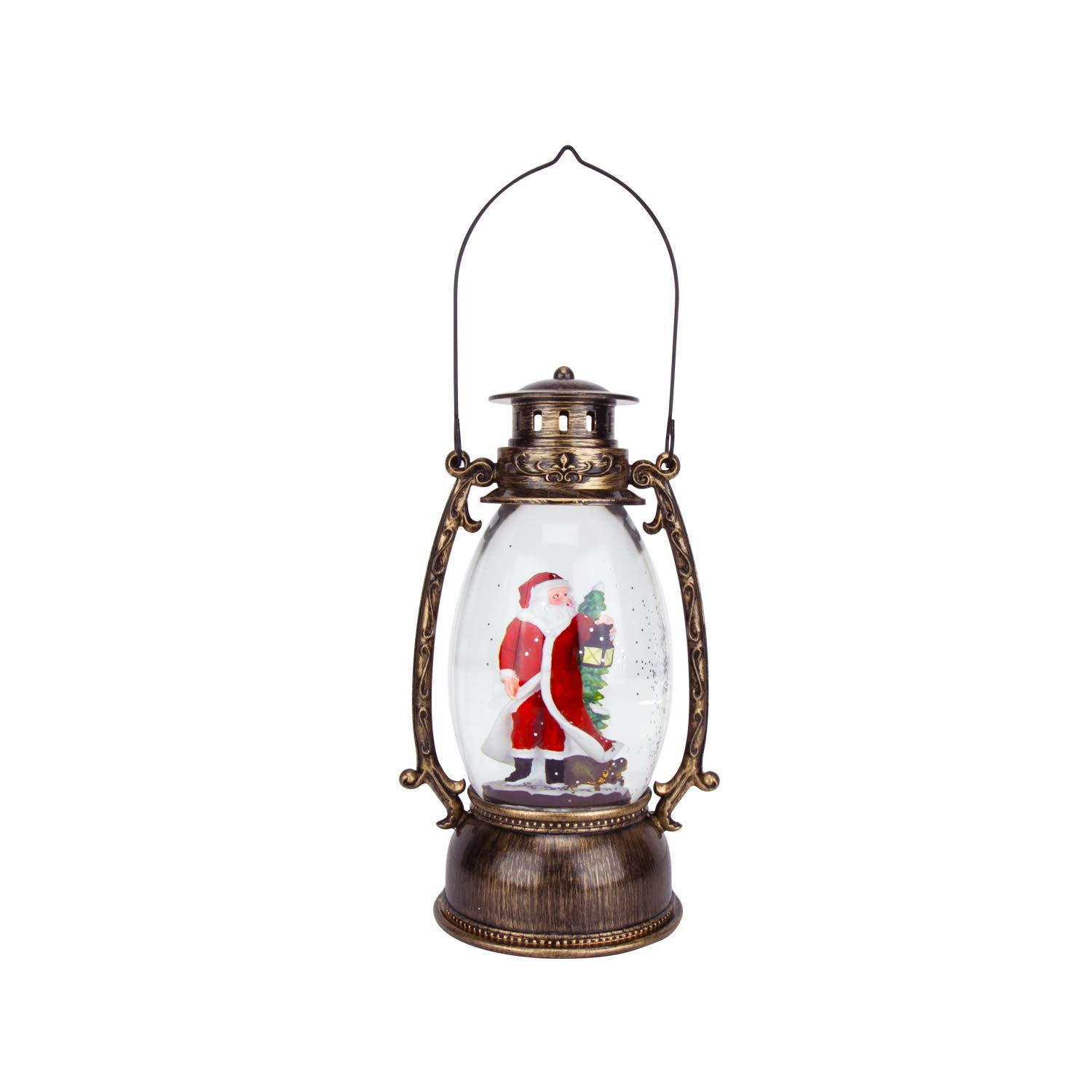 Evelyne GMT-10315 Santa Claus Christmas Snow Globes Collectibles - Battery Operated LED Lighted Swirling Glitter Water Lantern - Christmas Decorations for The Home (No Music)