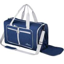 Packable Duffle Bag Foldable Travel Bag Lightweight 35L Carry on for Boarding Airline Gym Sports (Navy Blue)