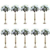 """Nuptio Vases for Centerpieces 10 Pcs Gold Vases Wedding Centerpieces for Tables Versatile Metal Flower Arrangement for Wedding Party Dinner Centerpiece Decor (Gold, 19.7"""" H)"""