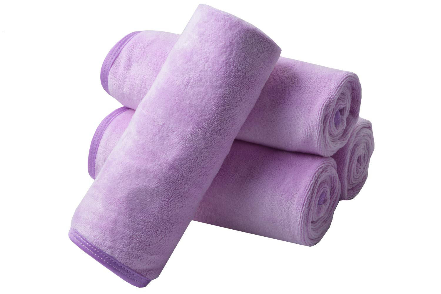KinHwa Microfiber Hand Towels for Bathroom - Soft and Light-Weight Face Towels Odor Free Wash Towels for Bath, Spa, Gym - Light-Purple 4 Pack