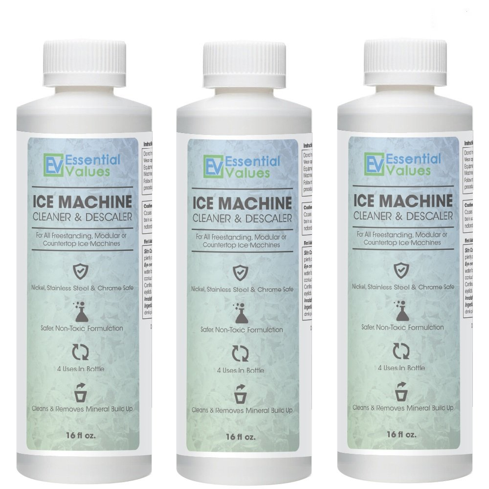 Ice Machine Cleaner 16 Fl Oz 3 Pack Nickel Safe Descaler Scale Remover Universal Application For Whirlpool 4396808 Manitowac Ice O Matic Scotsman Follett Ice Makers By Essential Values