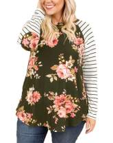 Womens Plus Size Raglan Shirts Long Sleeve Floral Top Striped Tshirt Tunic with Elbow Patch