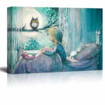 "wall26 Canvas Prints Wall Art - Girl in Her Bed Looking at an Owl on a Tree in Watercolor Painting Style | Modern Wall Decor/Home Decoration - 32"" x 48"""