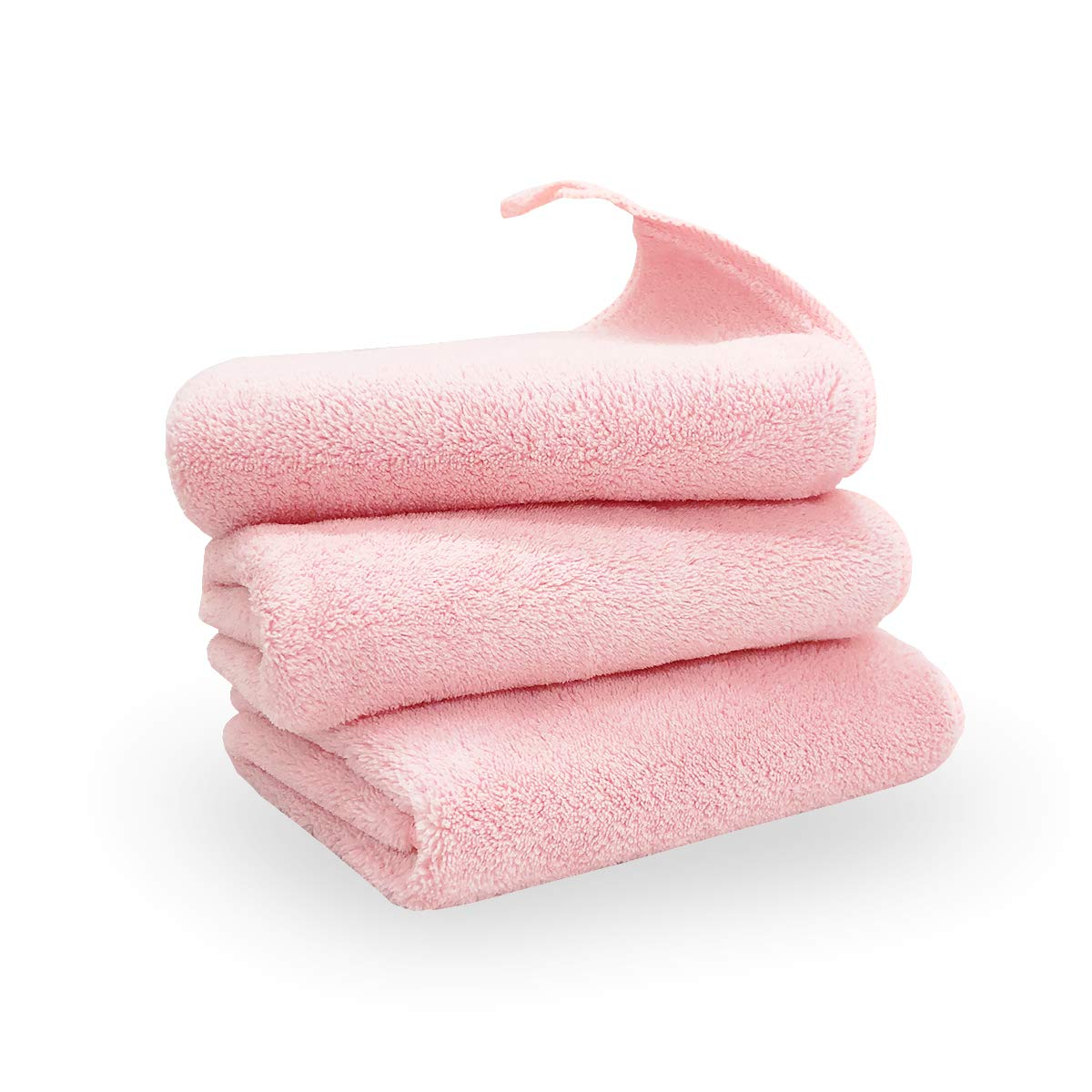 3 Pack, Baby Washcloths, 14x14 Inches, Microfiber Coral Fleece Extra Absorbent and Soft, Perfect Cloth for Sensitive Skin of All Age -Pink