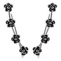 YACQ 925 Sterling Silver Women's Pierced Cuff Earrings Costume Jewelry