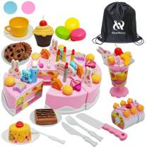 HenMerry Birthday Cake Toy, Food Toy Set DIY Cosplay Pretend Cutting Cake Fruit Desserts Toy Decorate Candles Gift for Kids (83pcs-Pink with Light)
