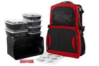 Meal Prep Backpack RUGGED ISOPACK 4 Meal Insulated Lunch Pack Cooler with 8 Stackable Meal Prep Containers, 1 ISOBRICK - MADE IN USA (Red/Black Accent)
