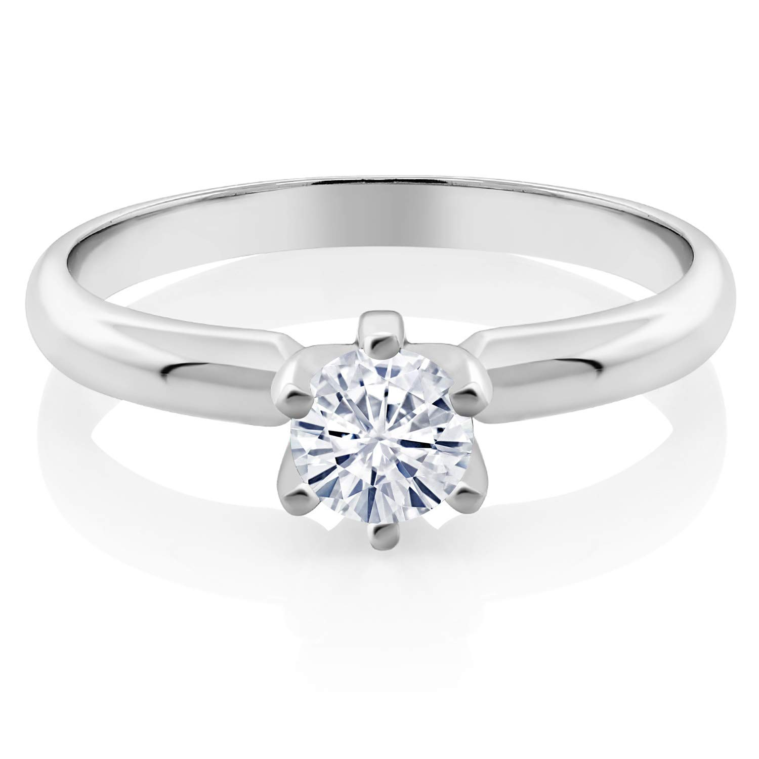 925 Sterling Silver Solitaire Ring Set Round Forever Brilliant Near Colorless (GHI) 0.50 ct (DEW) Created Moissanite from Charles & Colvard