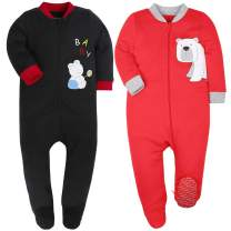 HONGLIN Unisex Baby 2 Pack Cotton Footed Pajamas Zip Front Jumpsuit