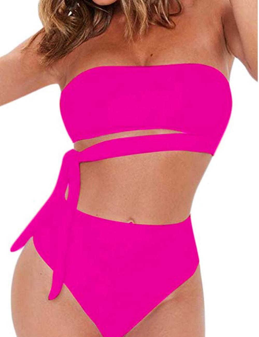 Jolefille High Waisted Two Piece Bikini Set Tie Waist Bathing Suit High Cut Bandeau Swimsuits for Women