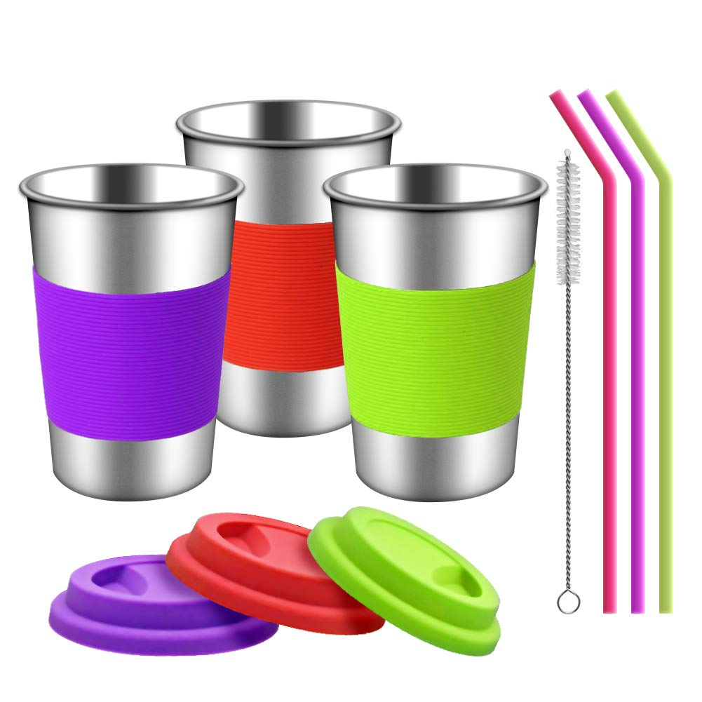 TOUGS Stainless Steel Cups with Silicone Lids, Sleeves and Straws   3 Pack 16 oz. Drinking Tumblers Cups for Toddlers, Kids and Adults   Eco-Friendly   BPA-Free
