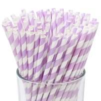 Just Artifacts 100pcs Premium Biodegradable Striped Paper Straws (Striped, Lavender)