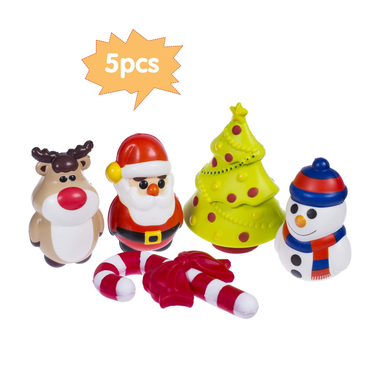 AILIMY Squishies 5Pcs Slow Rising Scented Soft Jumbo Christmas Decorations Squeeze Toys Prime Kawaii Animal Party Supply