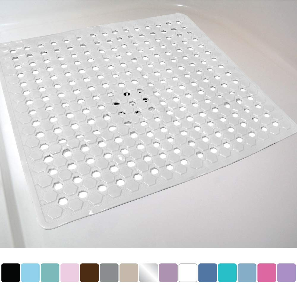 Gorilla Grip Original Patented Bath, Shower, and Tub Mat, 21x21, Machine Washable, Antibacterial, BPA, Latex, Phthalate Free, Square Bathroom Mats with Drain Holes, Suction Cups, White