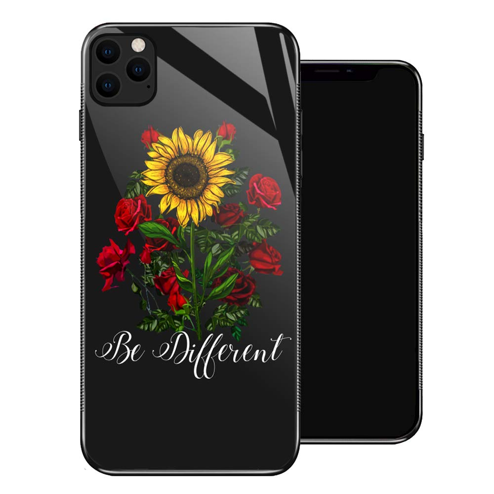 iPhone 11 Case,Sunflower Red Rose iPhone 11 Cases for Girls,Tempered Glass Pattern Design Back Cover[Shock Absorption] Soft TPU Bumper Frame Support Case for iPhone 11 Flower Green Leaves Yellow
