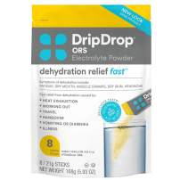 DripDrop ORS – Patented Electrolyte Powder for Dehydration Relief Fast - For Workout, Hangover, Illness, Sweating & Travel Recovery - Lemon - 8 x 16oz Servings