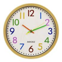 Fanyuanfds Silent Non-Ticking Kids Wall Clock,12 inch Colorful Arabic Numbers, Quartz Battery Operated Wall Clock for Bedroom, Living Room and School Classroom