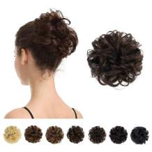 100% Human Hair Bun, BARSDAR Messy Bun Scrunchies Ponytail Extensions Curly Hair Bun Hair Piece for Women/Kids Tousled Updo Donut Chignons(2# Dark brown)