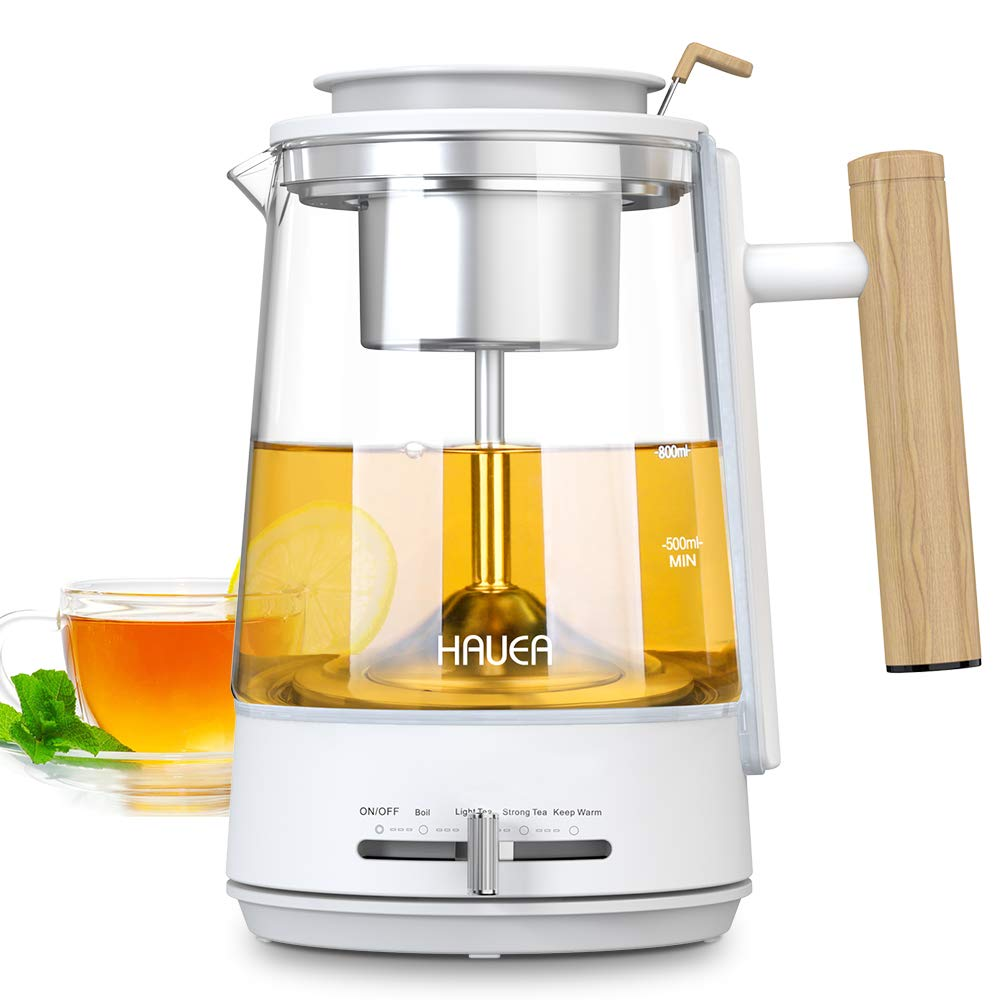 HAUEA Electric Kettle for Tea Hot Water 1L Glass Tea Pot with Removable Stainless Steel Strainer 4 Modes Pour Over Tea kettle, Auto-Shutoff and Boil-Dry Protection