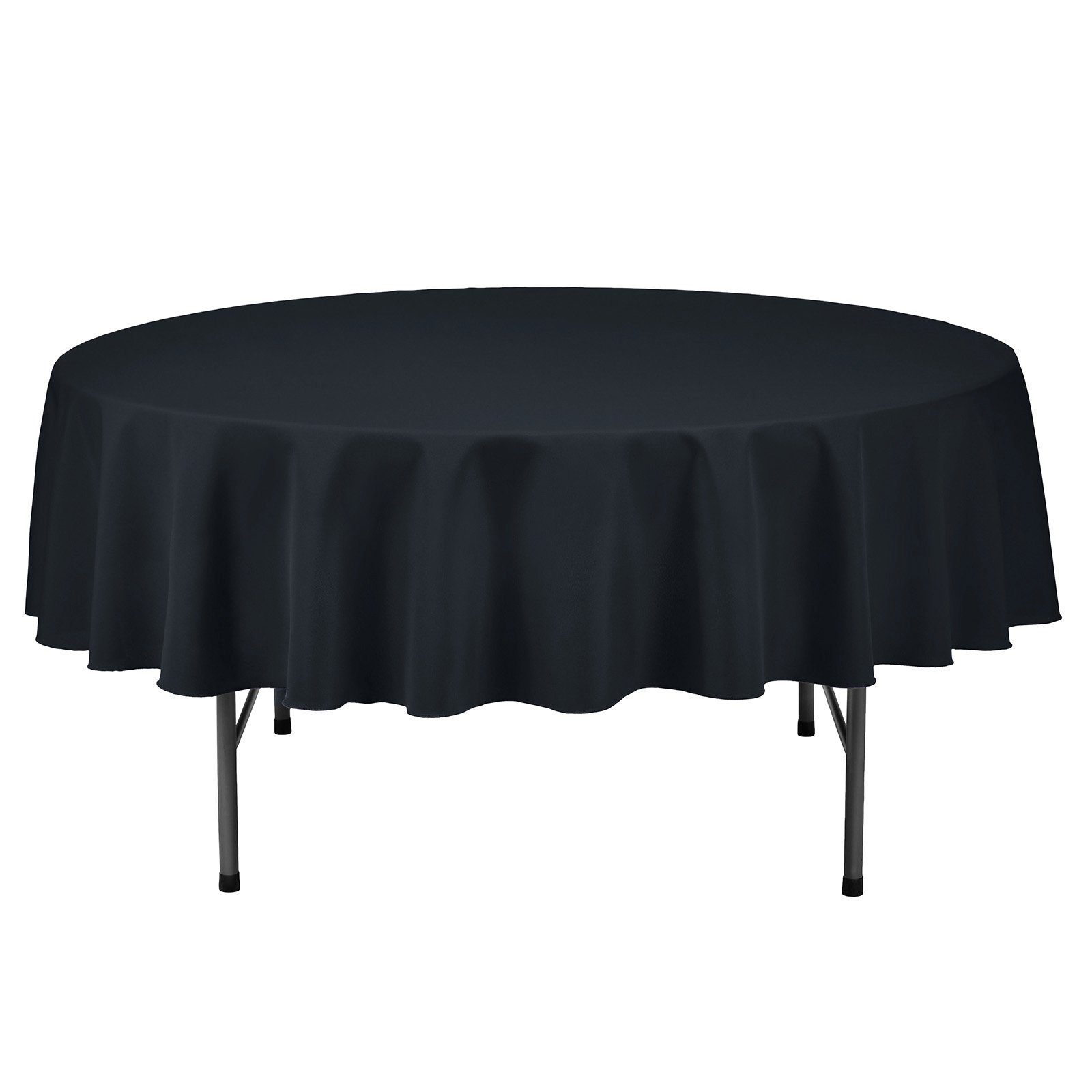 Remedios Round Tablecloth Solid Color Polyester Table Cloth for Bridal Shower Wedding Table – Wrinkle Free Dinner Tablecloth for Restaurant Party Banquet (Navy Blue, 70 inch)