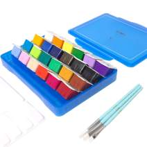Miya Gouache Paint Set, 24 Colors x 30ml Unique Jelly Cup Design with 3 Paint Brushes in a Carrying Case Perfect for Artists, Students, Gouache Opaque Watercolor Painting (Blue)