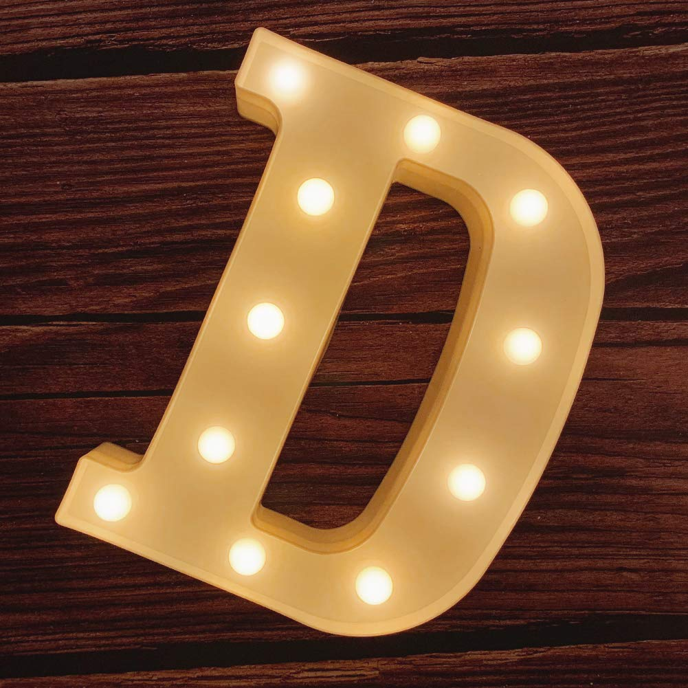 MUMUXI LED Marquee Letter Lights 26 Alphabet Light Up Marquee Number Letters Sign for Wedding Birthday Party Battery Powered Christmas Lamp Night Light Home Bar Decoration (D)