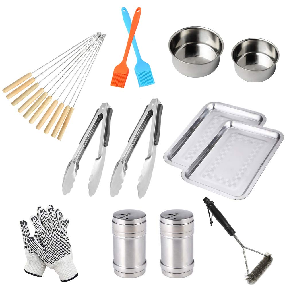 BBQ Grill Tools Set with 23 Barbecue Accessories -2 Basting Brushes,2 Seasoning Bottle,2 Food Dish,2 Tongs,10 Skewers,2 Sauce Bowl Oil Basin,2 Gloves,1 Cleaner Brush, Professional Barbecue Utensil Set