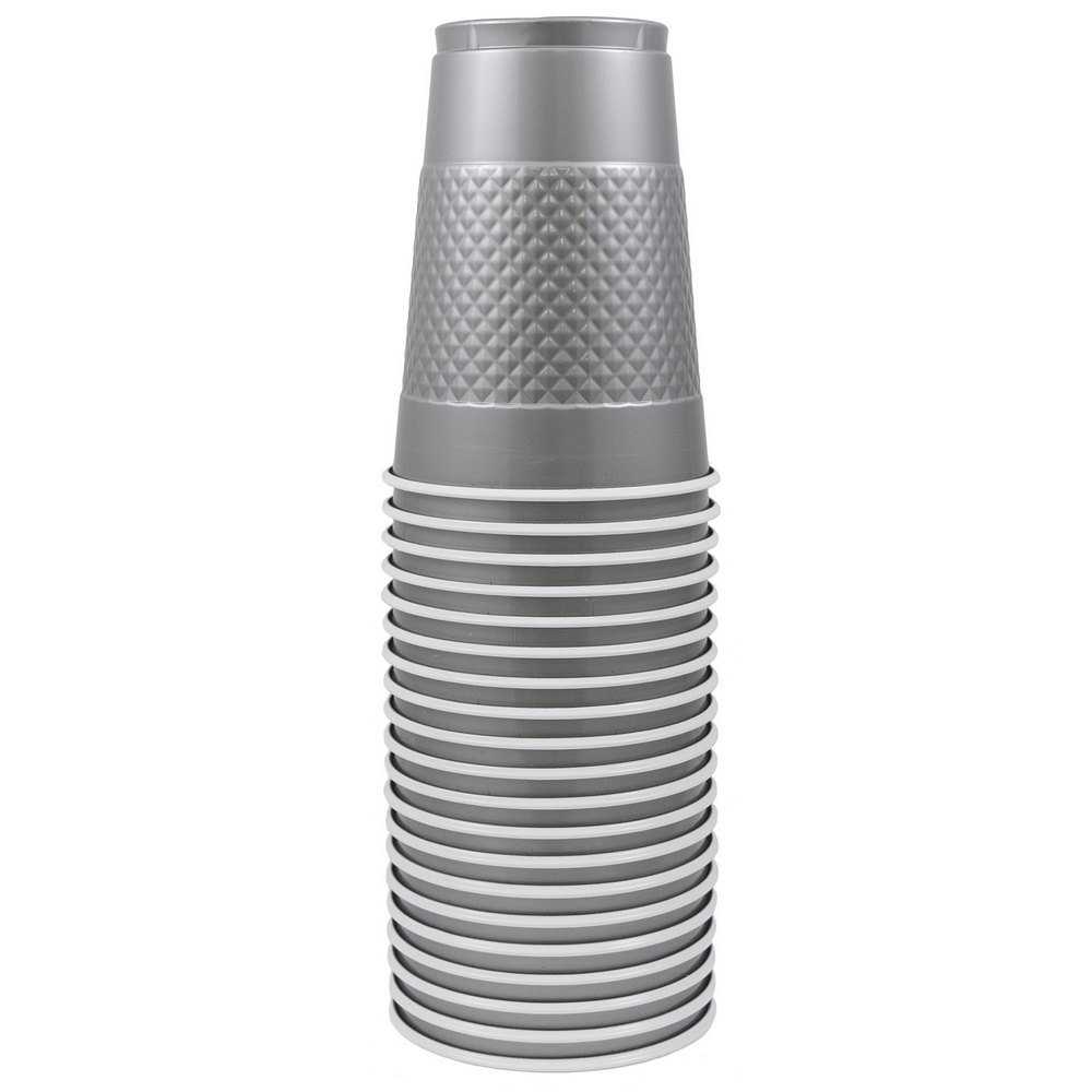 JAM PAPER Plastic Party Cups - 16 oz - Silver - 20 Glasses/Pack