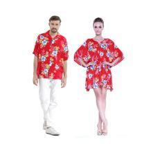 Couple Matching Hawaiian Luau Aloha Shirt Poncho Dress in Hibiscus Red