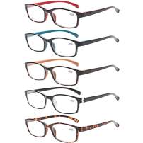 Reading Glasses 5 Pairs Quality Readers Spring Hinge Vintage Glasses for Reading for Men and Women (5 Pack Mix Color, 3.00)