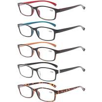 Reading Glasses 5 Pairs Quality Readers Spring Hinge Vintage Glasses for Reading for Men and Women (5 Pack Mix Color, 1.25)