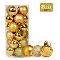 24ct Christmas Balls Ornaments, 2.36in (60mm) Shatterproof Decorative Hanging Balls for Xmas Tree, Holiday Wedding Party Decoration Baubles Set with Hang Rope, Gold