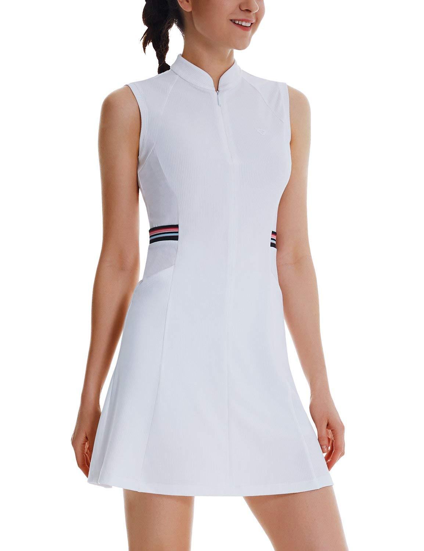 BALEAF Women's 2-in-1 Tennis Golf Dress Sleeveless 4-Pockets UPF 50+ Workout Sports