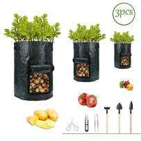 Potato-Grow-Bags,Garden Vegetable Planter with Handles&Access Flap for Vegetables,Tomato,Carrot, Onion,Fruits,Potatoes-Growing-Containers,Ventilated Plants Planting Bag(3 Pack) (10 gallons + 7 Tools)