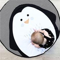 USTIDE Baby Rugs Creeping Crawling Mat Cartoon Sleeping Rugs, Children Anti-Slip Game Mat Cotton Floor Play Mat Blanket Play Environmental Carpet Kids Room Decor 37.4 x 37.4, Penguin