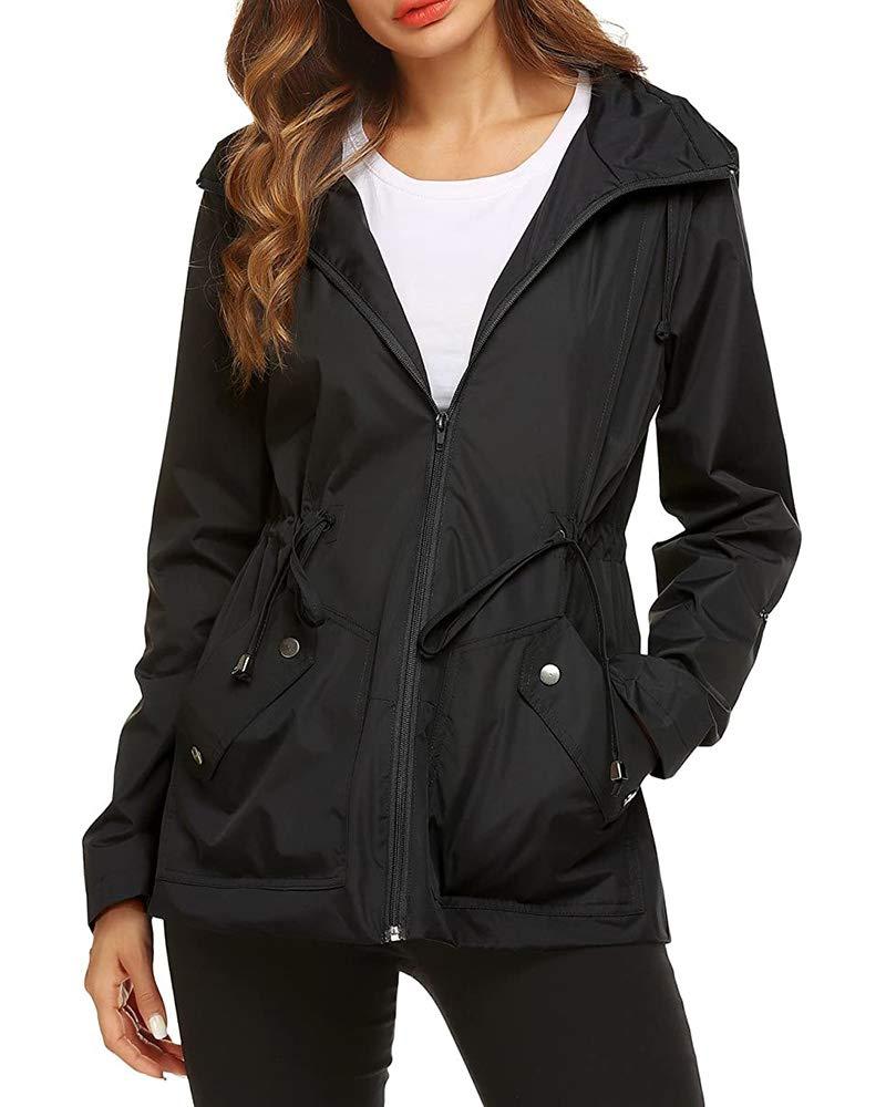 Ivay Womens Waterproof Rain Jacket Lightweight Active Outdoor Hooded Raincoat
