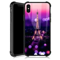 iPhone XR Case,A Colorful Tower iPhone XR Cases for Girls,Tempered Glass Back Cover Anti Scratch Reinforced Corners Soft TPU Bumper Shockproof Case for iPhone XR Purple Rainbow City
